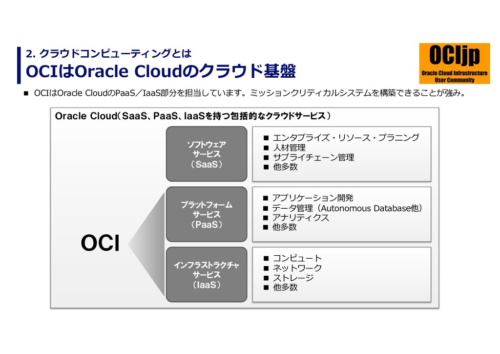 OCIはOracle Cloudのクラウド基盤 2. クラウドコンピューティングとは n OC...