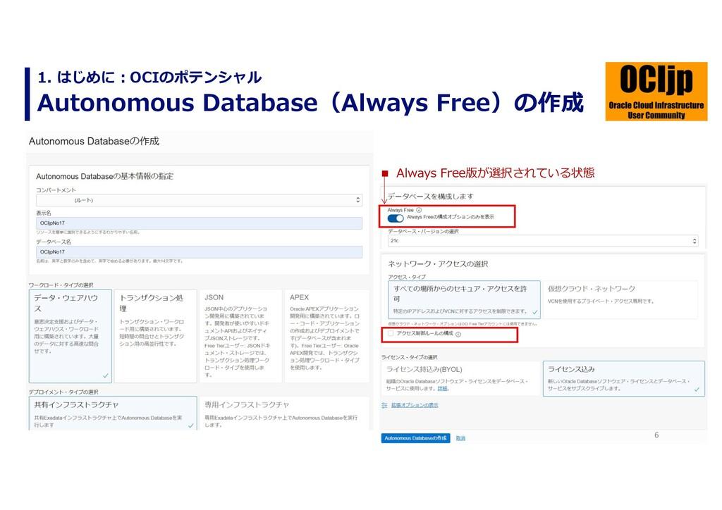 6 Autonomous Database(Always Free)の作成 1. はじめに︓O...