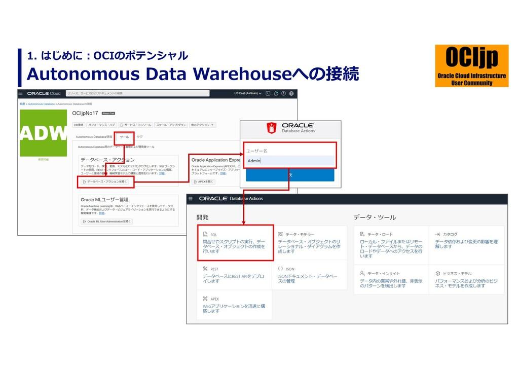Autonomous Data Warehouseへの接続 1. はじめに︓OCIのポテンシャル