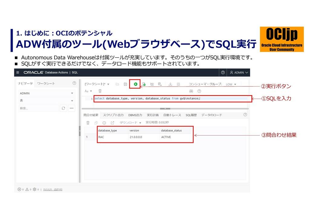 ADW付属のツール(Webブラウザベース)でSQL実⾏ 1. はじめに︓OCIのポテンシャル ...