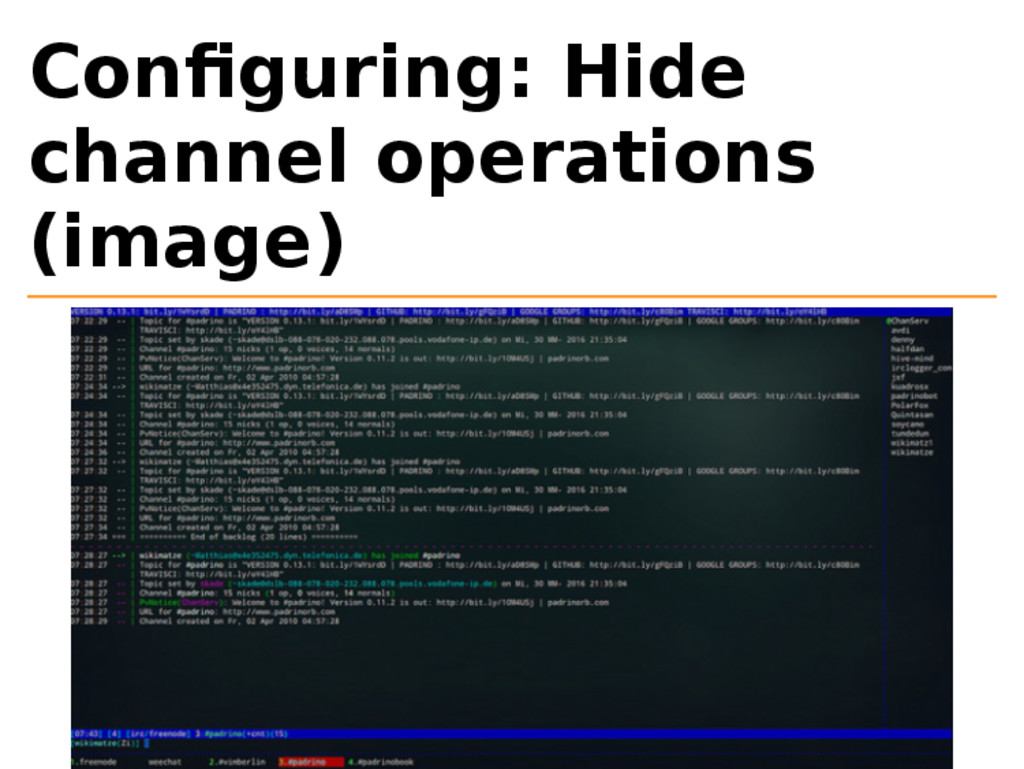 Configuring: Hide channel operations (image)