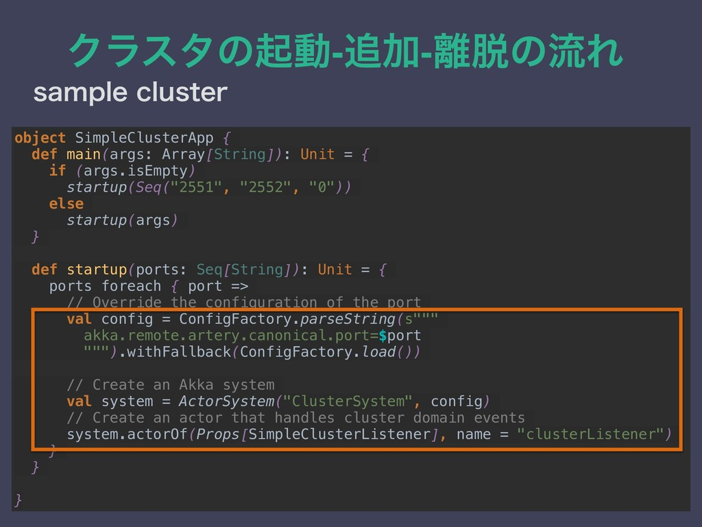 Ϋϥελͷىಈ-Ճ-ͷྲྀΕ TBNQMFDMVTUFS object SimpleCl...