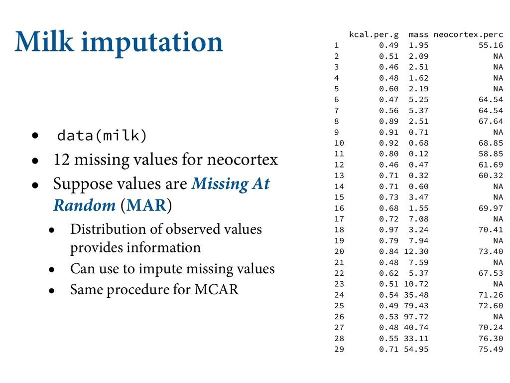 Milk imputation • data(milk) • 12 missing value...