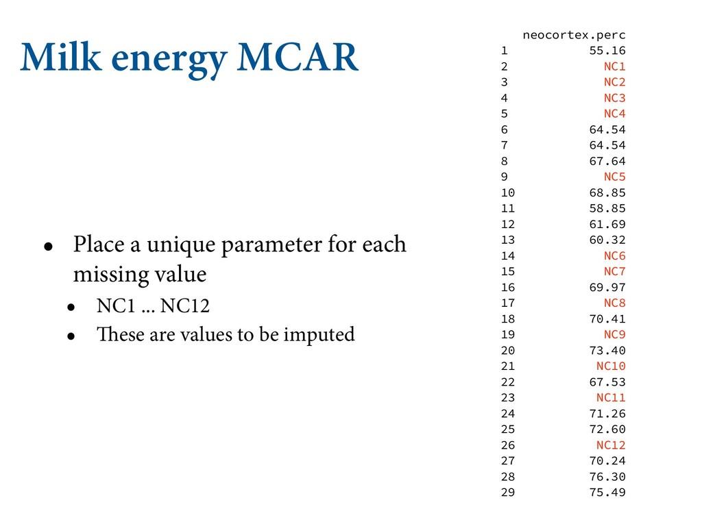 Milk energy MCAR • Place a unique parameter for...