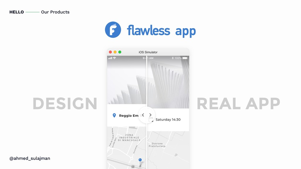 HELLO Our Products DESIGN REAL APP iOS Simulato...