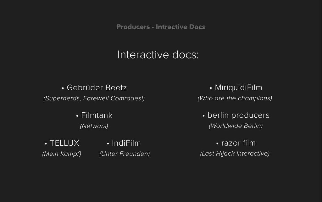 Producers - Intractive Docs • Gebrüder Beetz (S...