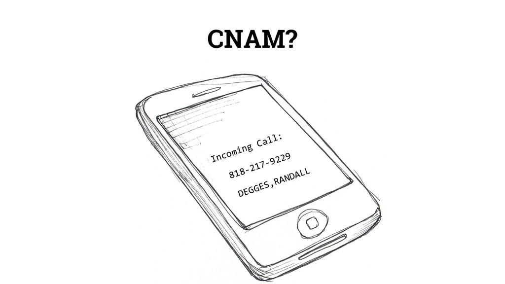 CNAM? Incoming Call: 818-217-9229 DEGGES,RANDALL
