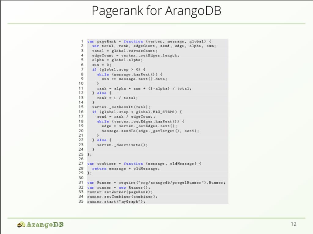 Pagerank for ArangoDB 1 var pageRank = function...
