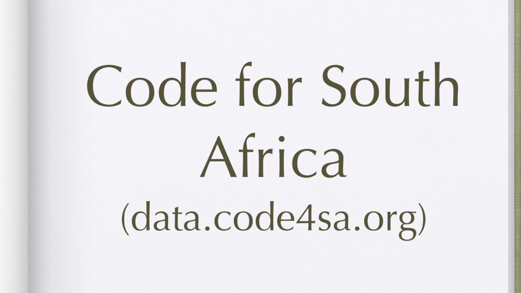 Code for South Africa (data.code4sa.org)
