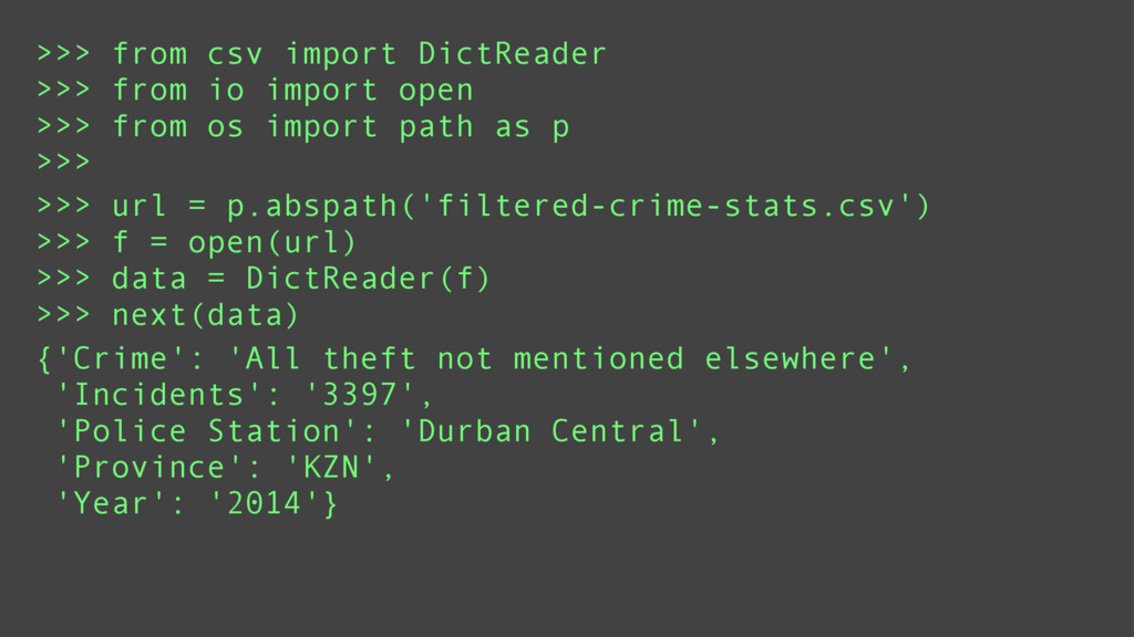 >>> from csv import DictReader >>> from io impo...