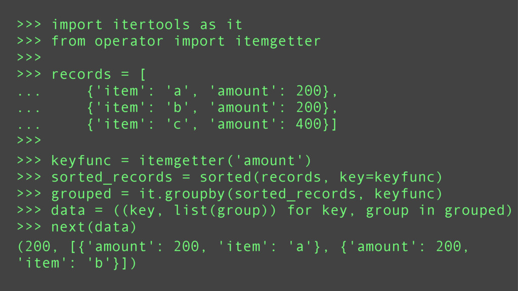 >>> import itertools as it >>> from operator im...