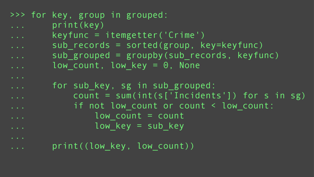 >>> for key, group in grouped: ... print(key) ....