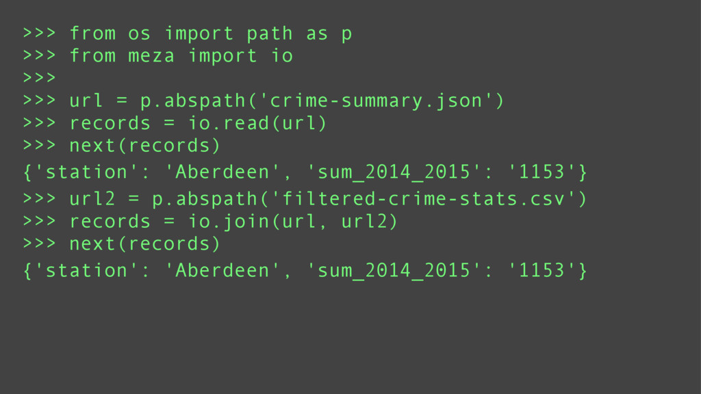 >>> from os import path as p >>> from meza impo...