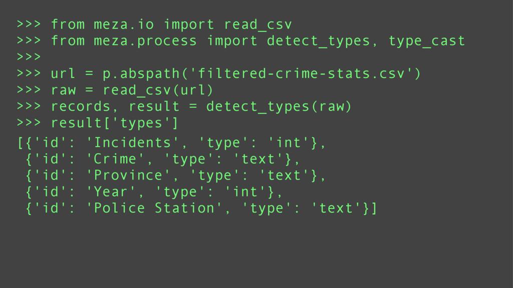 >>> from meza.io import read_csv >>> from meza....