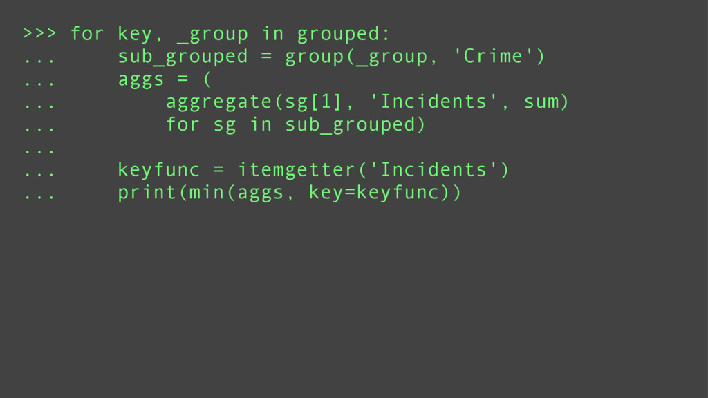 >>> for key, _group in grouped: ... sub_grouped...