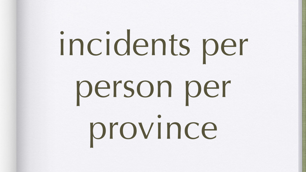 incidents per person per province