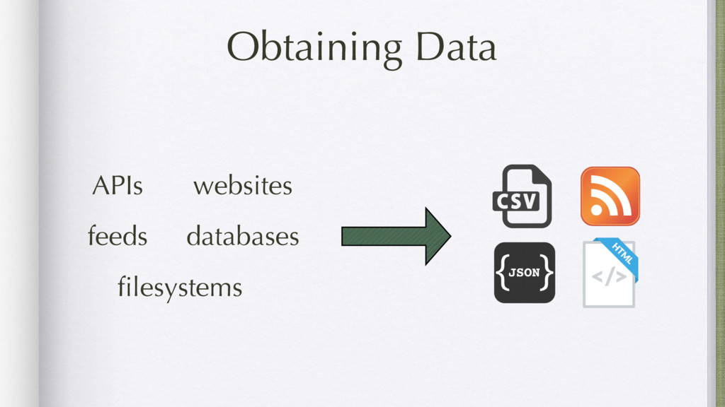 Obtaining Data APIs websites feeds databases fil...