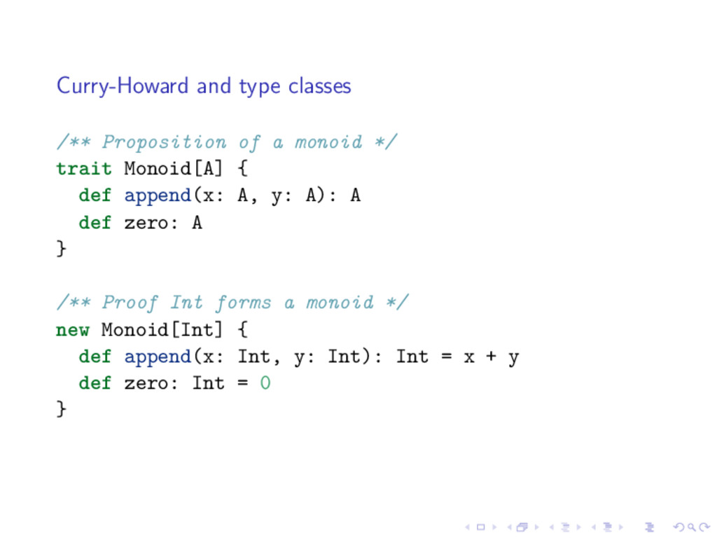 Curry-Howard and type classes /** Proposition o...