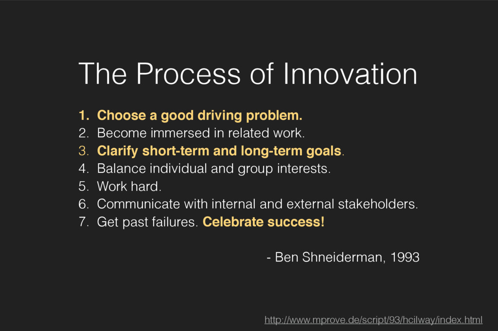 The Process of Innovation 1. Choose a good driv...
