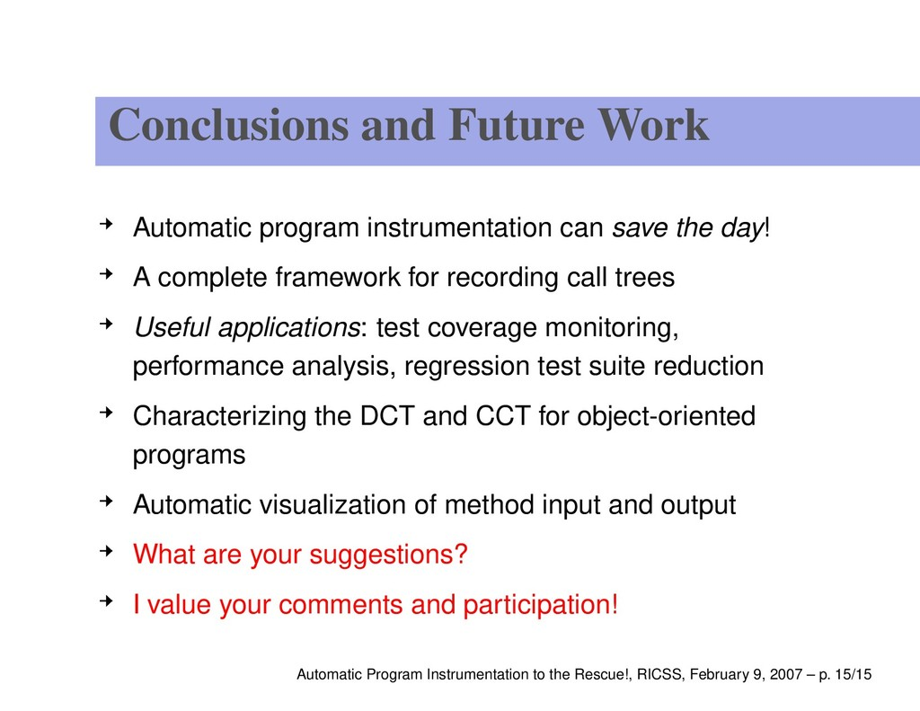 Conclusions and Future Work Automatic program i...