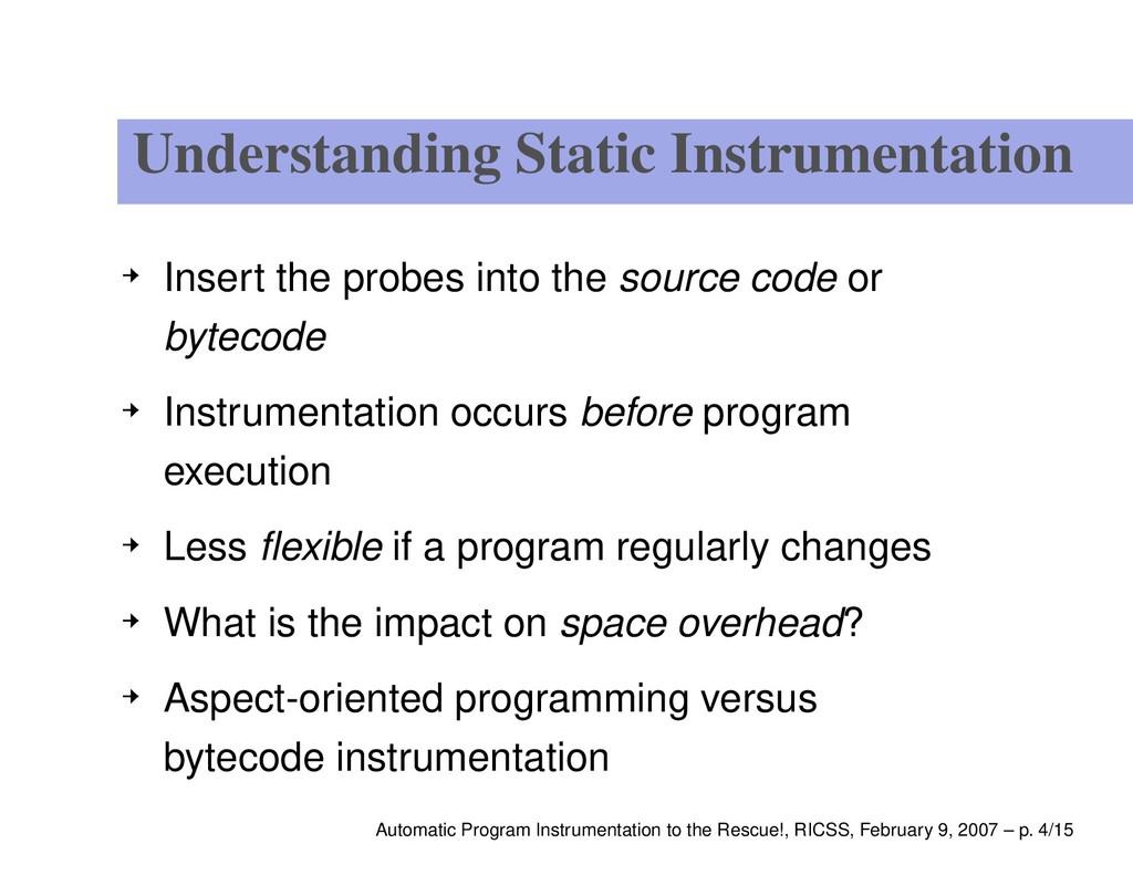 Understanding Static Instrumentation Insert the...