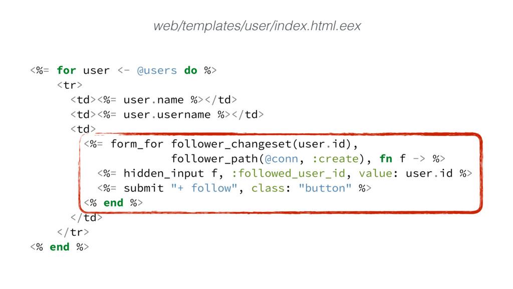 <%= for user <- @users do %> <tr> <td><%= user....