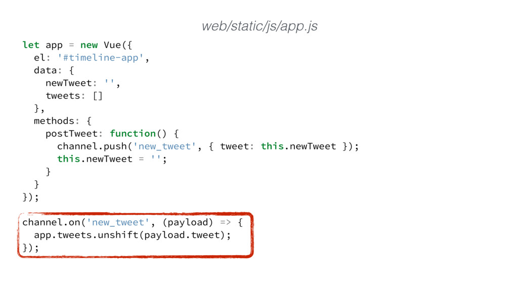 let app = new Vue({ el: '#timeline-app', data: ...