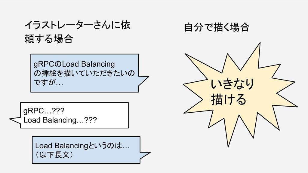 イラストレーターさんに依 頼する場合 自分で描く場合 gRPCのLoad Balancing ...
