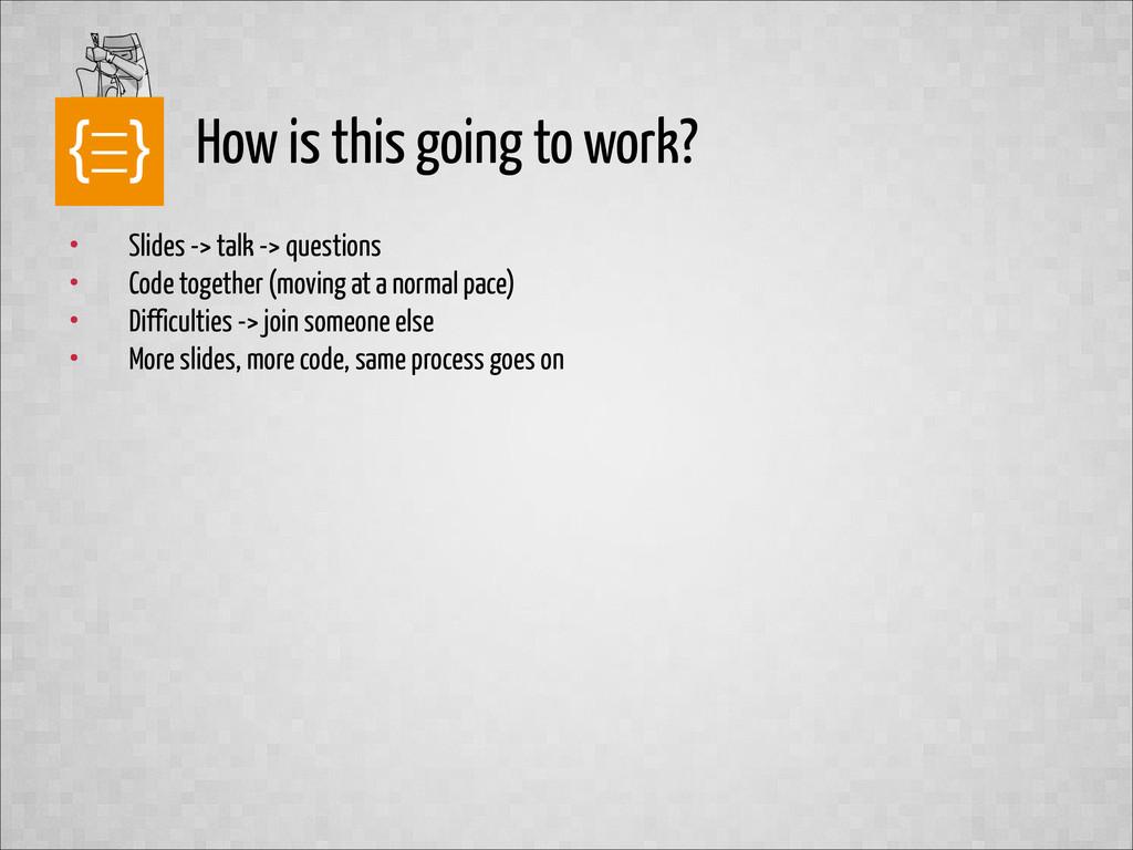 text • Slides -> talk -> questions • Code toget...