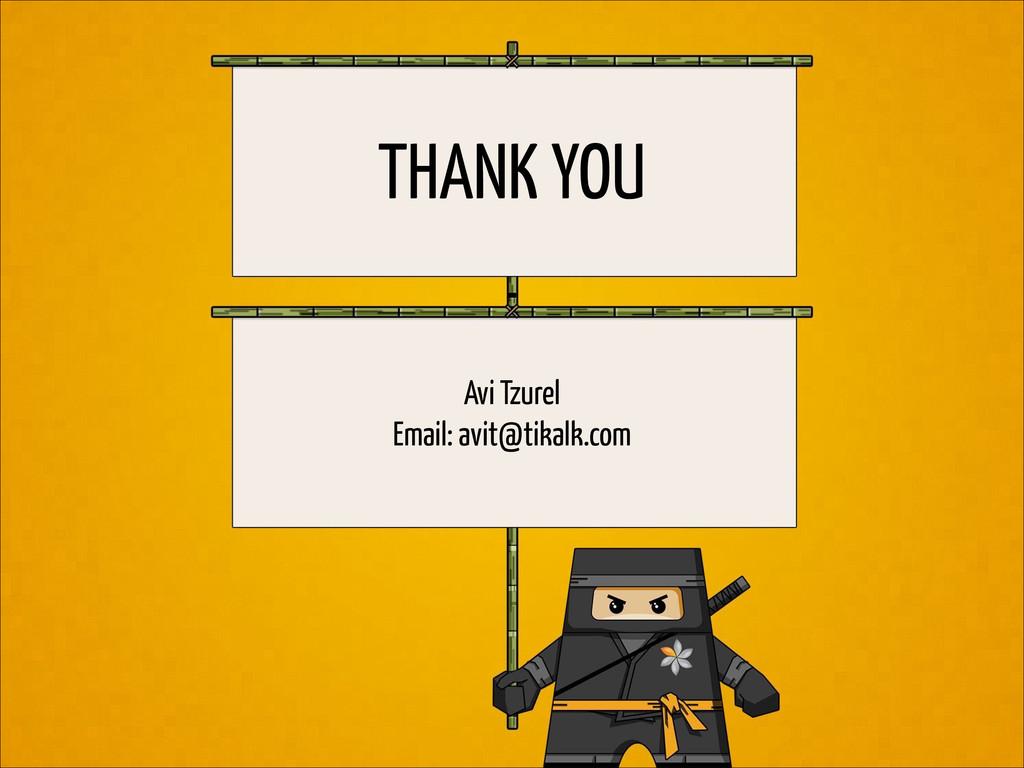 THANK YOU Avi Tzurel Email: avit@tikalk.com