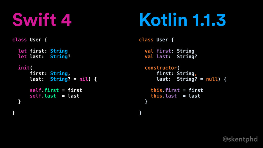 @skentphd Swift 4 class User { let first: Strin...