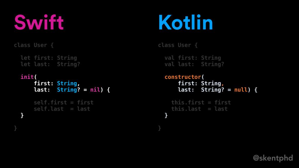 @skentphd Swift class User { let first: String ...