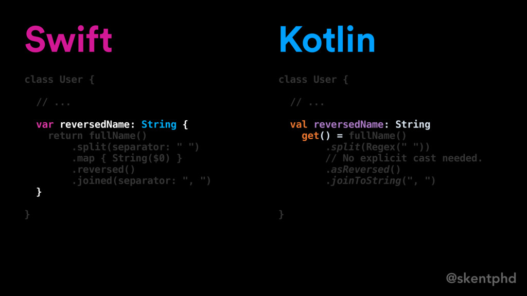 @skentphd Swift class User { // ... var reverse...