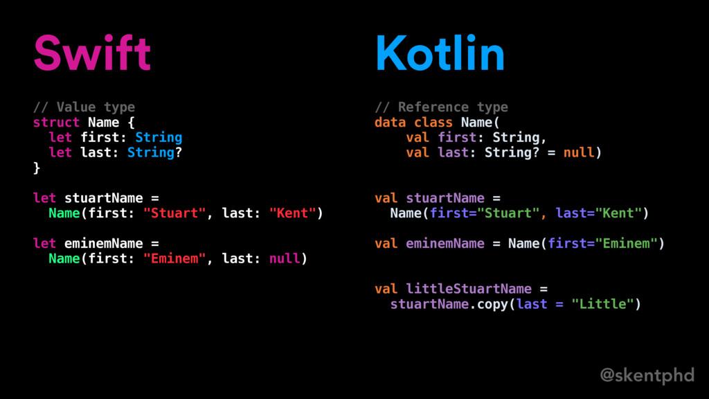 @skentphd Swift // Value type struct Name { let...