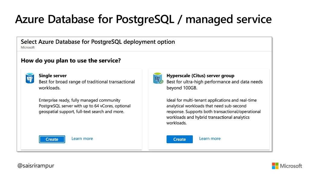 Azure Database for PostgreSQL / managed service...