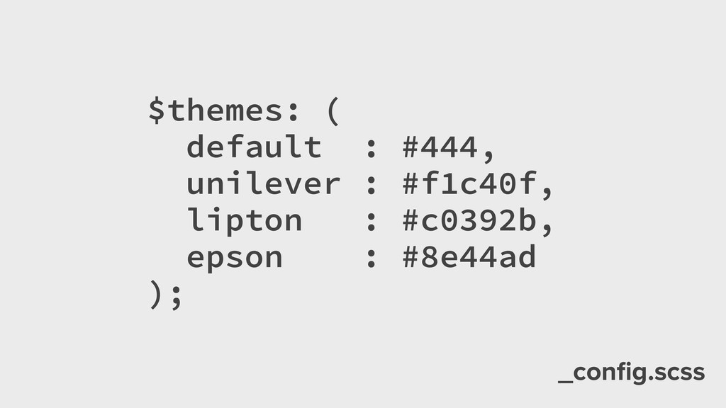 _config.scss $themes: ( default : #444, unilever...