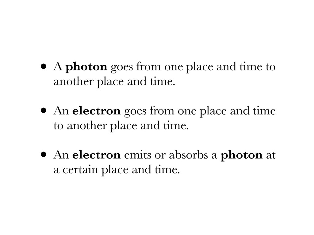 • A photon goes from one place and time to anot...