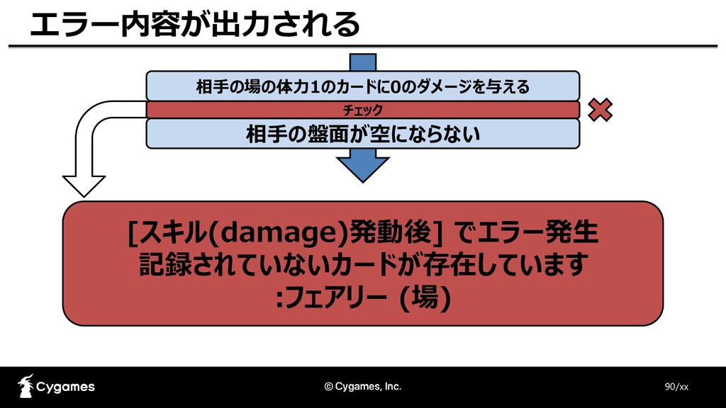 90/xx エラー内容が出力される [スキル(damage)発動後] でエラー発生 記録されて...