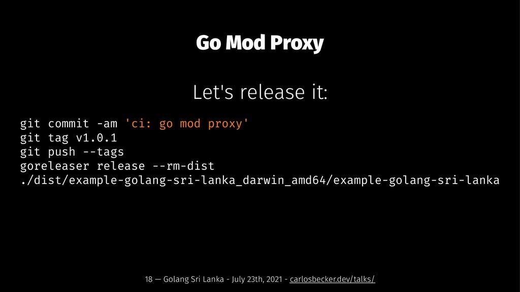 Go Mod Proxy Let's release it: git commit -am '...