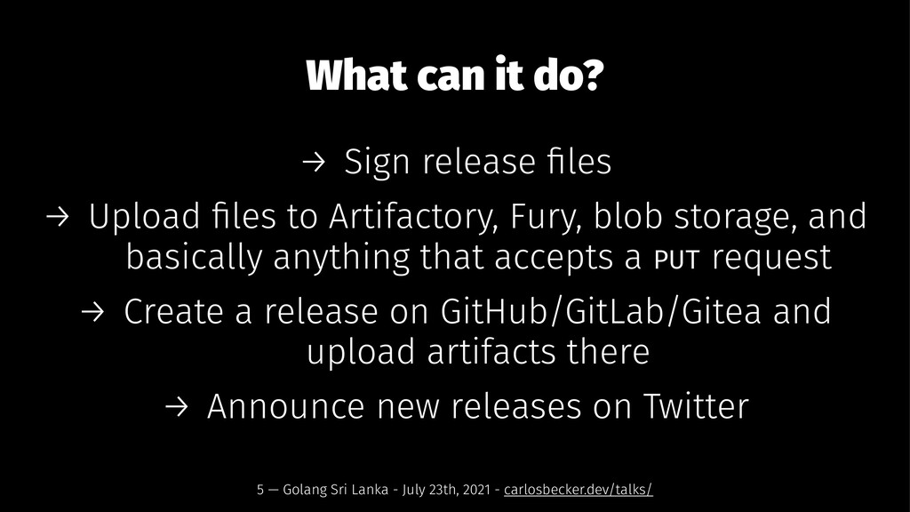 What can it do? → Sign release files → Upload fil...