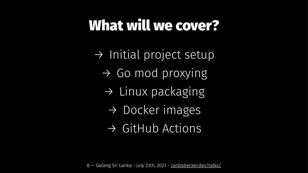 What will we cover? → Initial project setup → G...