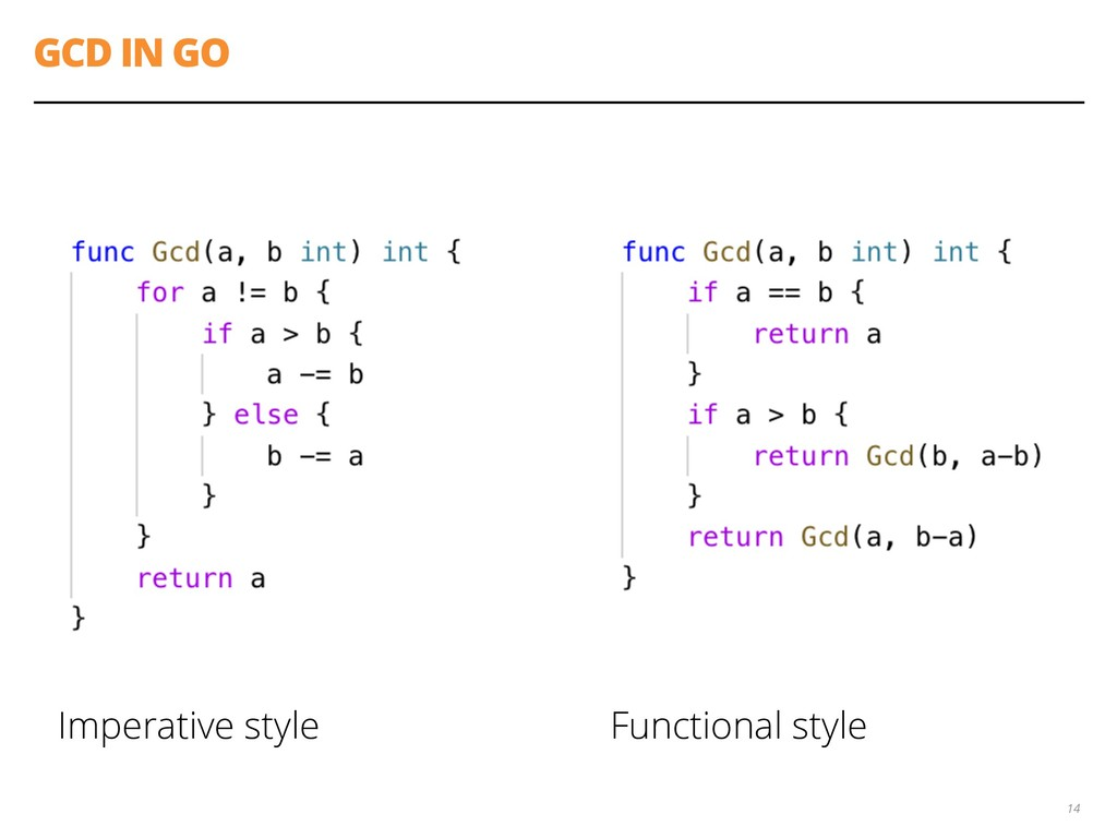 GCD IN GO Imperative style Functional style 14