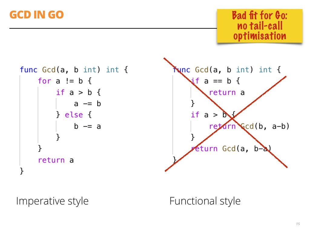 GCD IN GO Imperative style Functional style 15 ...