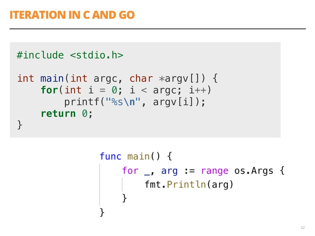 ITERATION IN C AND GO 52 #include <stdio.h> int...