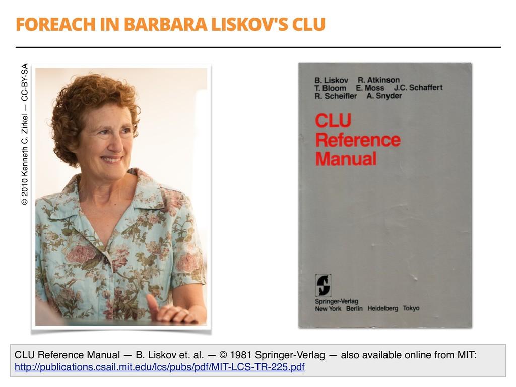 FOREACH IN BARBARA LISKOV'S CLU 53 CLU Referenc...