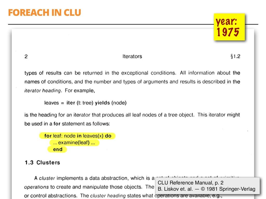 FOREACH IN CLU 54 year: 1975 CLU Reference Manu...