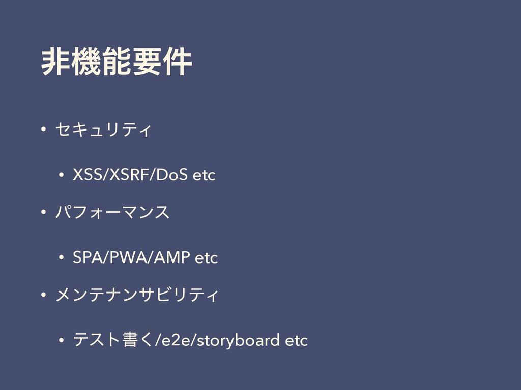 ඇػཁ݅ • ηΩϡϦςΟ • XSS/XSRF/DoS etc • ύϑΥʔϚϯε • S...
