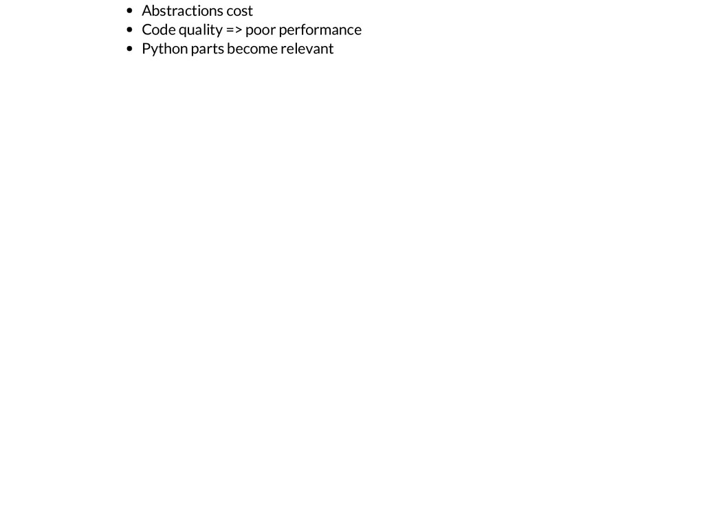 Abstractions cost Code quality => poor performa...
