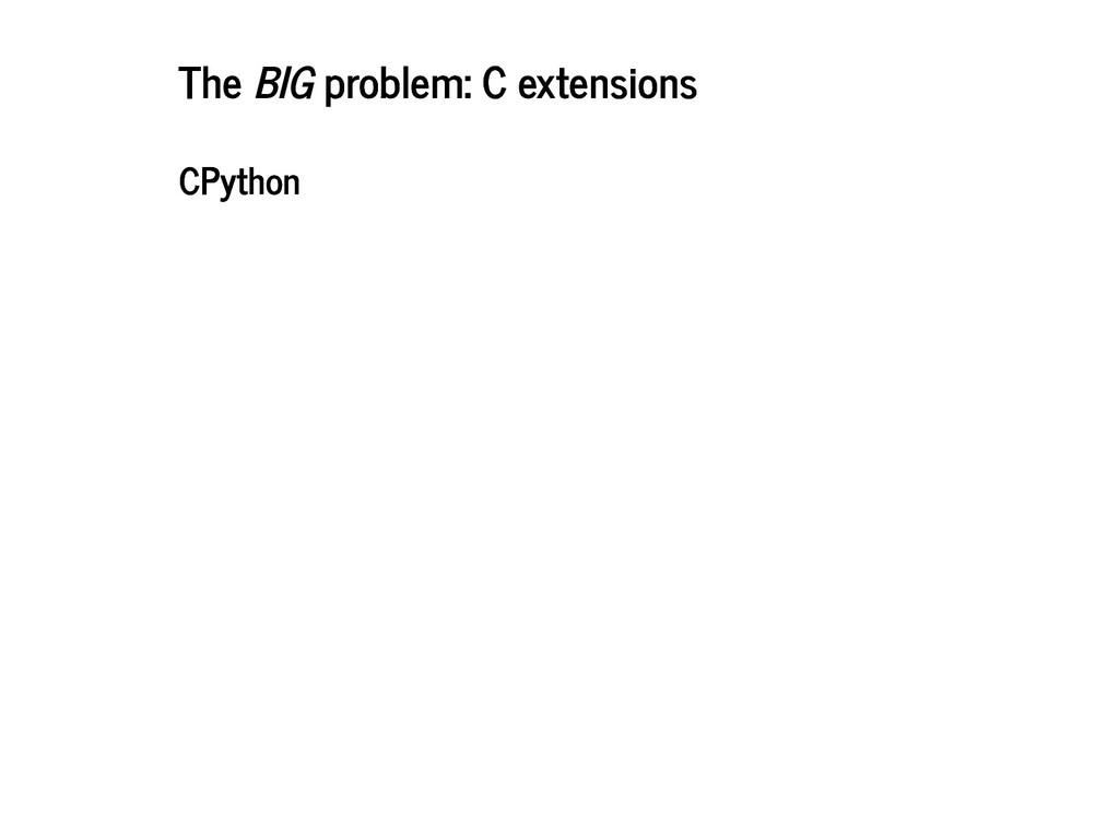 The The BIG problem: C extensions problem: C ex...