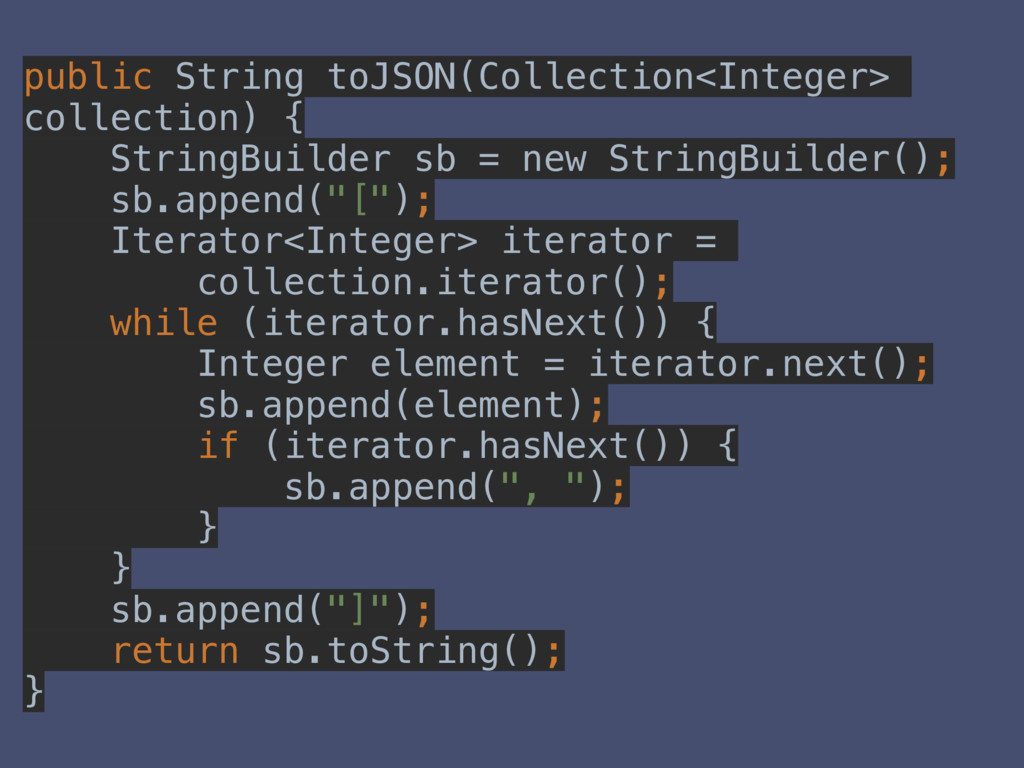public String toJSON(Collection<Integer> collec...